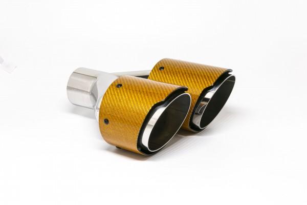 Endrohr Carbon 2x100mm rund scharf abgeschrägt versetzt links orange glänzend