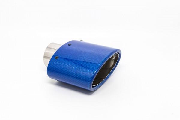 Endrohr 82x152mm oval Carbon abgeschrägt blau glänzend (Aufpreis)